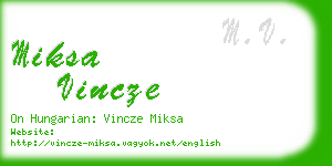 miksa vincze business card